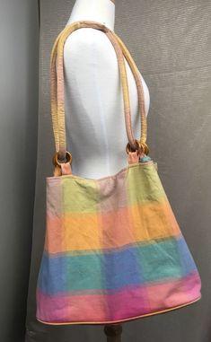 Vintage Pastel Handbag Check Plaid Tartan Shoulder Bag Beach Cotton   eBay 61f1a7dd57
