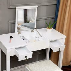 Chenway Dressing Tables Vanity Set with Flip Top Mirror Makeup Dressing Table Writing Desk with 2 Drawer [Ship from USA Directly] (White) Vanity Set, Bedroom Desk, Flip Top Desk, Vanity Table, Minimalist Vanity, Vanity Combos, Dressing Table Writing Desk, White Dressing Tables, Desk