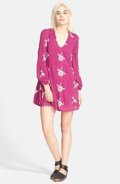 Free shipping and returns on Free People 'Emma's Shift Dress at Nordstrom.com. Embroidered flowers adorn the gauzy surface of this long-sleeve shift dress for a jazzy vintage look, while an elasticized back cutout adds a skin-baring detail.
