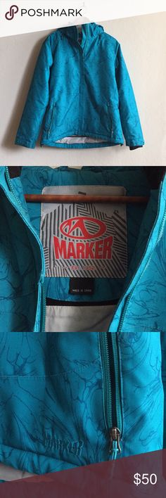 Marker Women's Snowboarding Jacket Worn only a few times! Marker brand snowboarding jacket in a bright teal. Side vents and hood large enough to accommodate a helmet (and removable). Can't remember the size! But I would estimate a medium-large. Accepting offers Marker Jackets & Coats