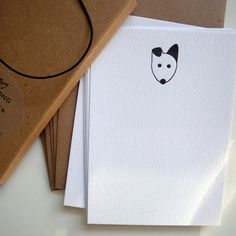 """Boxed set of eight """"BOWWOW"""" letterpress note cards with envelopes"""