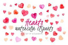 45 Watercolor Hearts by Anku Graphics on @creativemarket