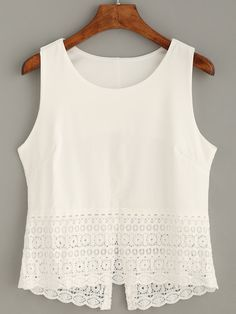 Shop White Crochet Trim Tank Top online. SheIn offers White Crochet Trim Tank Top & more to fit your fashionable needs.