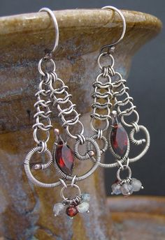 Wire Wrapped Gemstone and Chainmaille Earrings  by LoneRockJewelry, $89.00