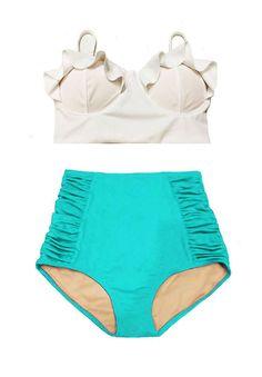 White High Waisted Bikinis, Retro High Waisted Bikini, Bikini Swimwear, Swimsuits, Bikini Set, Midkini Tops, Retro Bathing Suits, Swimsuit Pattern, Green Swimsuit