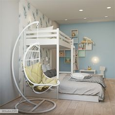 Youngsters Bedroom Furnishings – Bunk Beds for Kids Bunk Beds For Girls Room, Adult Bunk Beds, Bunk Beds With Stairs, Kids Bunk Beds, Modern Bunk Beds, Cool Kids Rooms, Bohemian Style Bedrooms, Loft Spaces, Small Spaces