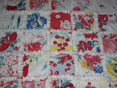 Vintage Tablecloth Quilt. Love This.