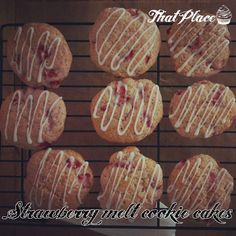 Delicious soft, melt in your mouth cookie cakes, with strawberries and tangy lemon drizzle!