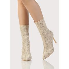 SheIn(sheinside) Embellished Fishnet Sock Boots Champagne ($56) ❤ liked on Polyvore featuring shoes, boots, champagne, embellished shoes, pointed toe shoes, pointy toe shoes, pointy toe high heel boots and off white boots