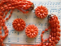 Vintage Orange MultiStranded Necklace with Matching by HaveMerci, $20.00