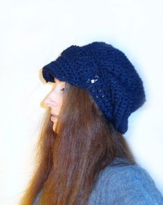 Items similar to Slouchy Hat -Navy color, with crystals on Etsy Knitted Hats, Crochet Hats, Navy Color, Wool Blend, Flat, Trending Outfits, Knitting, Handmade Gifts, Water