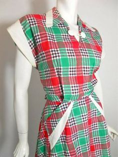 Perky Red and Green Plaid Cotton Day Dress circa 1940s - Dorothea's Closet Vintage
