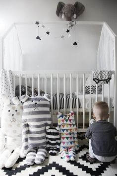 black white grey simplicity nursery