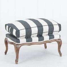 French+Grey+&+White+Stripe+Ottoman+-+A+classic+french+design+from+the+Louis++XV+era,handcrafted+from+the+finest+American+Oak+and+upholstered+in+a+range+of+fabrics+and+colours.+The+ottoman+is+part+of+a+range+that+includes+a+dining+chair+and+matching+armchair.