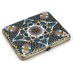 FABERGÉ SILVER-GILT AND CLOISONNÉ ENAMEL CIGARETTE CASE    MARK OF FABERGÉ IN CYRILLIC BENEATH THE IMPERIAL WARRANT, MAKER'S MARK OF FEODOR RÜCKERT IN CYRILLIC, MOSCOW, 1908–1917, 88  ||   MacDougall's Fine Art Auctions