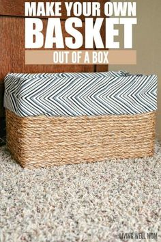 boxes How to make a basket out of an ordinary cardboard box - this simple DIY project costs less tha Cardboard Box Storage, Diy Storage Boxes, Cardboard Box Crafts, Recycle Cardboard Box, Decorative Storage Boxes, Cardboard Furniture, Storage Baskets, Stair Basket, Diy Karton