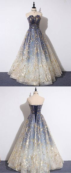 This dress could be custom made, there are no extra cost to do custom size and color, Charming Blue Floral Print Tulle Strapless Long A Line Prom Dresses Dance Dresses Graduation Dresses Long, A Line Prom Dresses, Tulle Prom Dress, Grad Dresses, Evening Dresses, Formal Dresses, Tulle Lace, 1950s Prom Dress, Dresses Dresses
