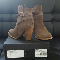 Dune London suede booties Taupe suede booties in good condition. Only worn once. Slight stain mark on left bootie, top front. Can be removed by cleaning. Dune London  Shoes Ankle Boots & Booties