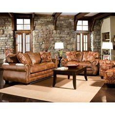 Furniture of America SM5053-SF Birmingham Sofa  Love the golden brown sofa with stone ?greyish walls....dark rust and cream highlights