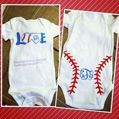 Baby Girl Monogram Baseball Onesie (front & back)