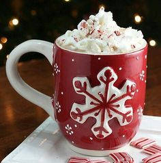 The hot chocolate in this picture looks delicious.