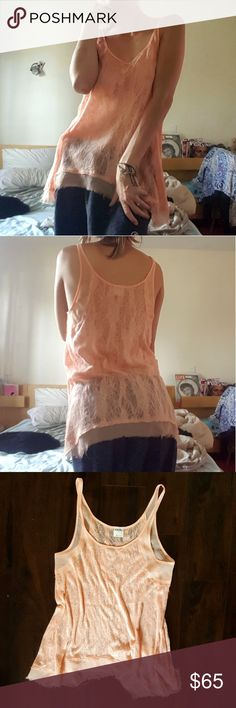 Free People Orange Lace Shirt Free People Orange Lace Shirt - Very comfy! - Lace details. - Sheer fabric details. - NEVER WORN! BRAND NEW! Free People Tops