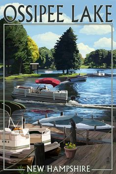Ossipee Lake, New Hampshire - Pontoon Boats (36x54 Giclee Gallery Print, Wall Decor Travel Poster) >>> Review more details here : Dining Entertaining