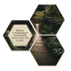 Hexagon   Holz Birke Furnier   Wege Entstehen Dadurch, Dass Man Sie Geht  (3er Set)