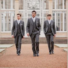 2017 Hot sale gray Groomsmen Custom made mens suits Tuxedo Business Wedding Slim Fit Custom grey men suit (Jacket+Pants+vest)