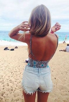 Low back top with high waist shorts