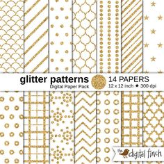 Gold glitter patterns digital paper, royalty free for commercial and personal use. Gold glitter basic patterns, geometric patterns, glitter dots