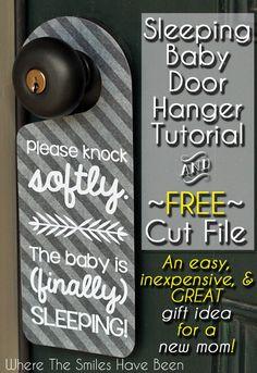 Sleeping Baby Door Hanger Tutorial & FREE Cut File | Where The Smiles Have Been