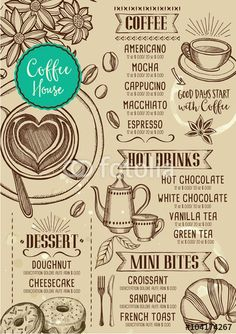Vettoriale: Coffee restaurant cafe menu, template design. More