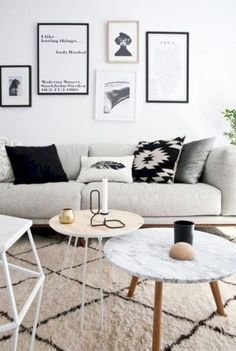 Black And White Living Room Decor With Minimalist Design 02