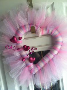 DIY: Under Ten Dollars Valentine Tulle Wreath Valentine Wreath, Valentine Day Love, Valentine Decorations, Valentine Day Crafts, Tulle Decorations, Vintage Valentines, Romantic Valentines Day Ideas, Heart Wreath, Heart Shaped Wreath