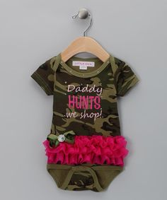 Take a look at this Green & Pink Camo 'Daddy Hunts We Shop' Skirted Bodysuit - Infant by Kid-Perfect Apparel Collection on #zulily today!