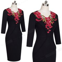 Clothing Type: Women Dress Dress Type: Work Dress, Bodycon Dress, Plus Size Dress Dresses Length: Knee-Length Neckline: V-Neck Sleeve Length(cm): Three Quarter Style: Office Lady Material: Polyester, Spandex, Cotton Decoration: Embroidery Pattern Type: Solid Silhouette: Sheath Style: Work SIZE S M L XL 2XL US 4 6 8 10 12 AU/UK 8 10 12 14 16 EURO 36 38 40 42 44 Bust laid flat 83 cm 88 cm 93 cm 98 cm 103 cm Bust After stretch 88 cm 93 cm 98 cm 103 cm 108 cm Waist laid flat 67 cm 72 cm 77 cm 82… Bodycon Work Dress, Types Of Dresses, Dresses For Work, Office Ladies, Embroidery Patterns, Polyester Spandex, Plus Size, V Neck, Rose