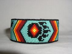 Bear Paw Native American Beaded Cuff Bracelet   Cheryl   Flickr