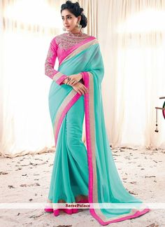 turquoise-border-work-faux-georgette-saree-800x1100.jpg (800×1100)