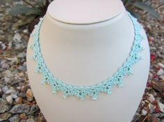 crochet chocker necklace crochet jewelry fiber by MySistersArt, $35.00