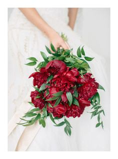 Crimson Peony Bouquet | Brittany Mahood  Photography | Designer Wedding and Holiday Style from Rent the Runway!
