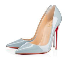 Blue Gray Christian Louboutin Red Bottoms Pointed Toe High Heels in So Kate