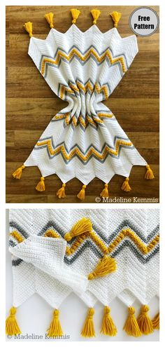 The Drops of Heaven Chevron Blanket Free Crochet Pattern features a modern design using mainly simple stitches finished with dazzling tassels. Crochet Afghans, Crochet Motifs, Crochet Blanket Patterns, Baby Blanket Crochet, Crochet Stitches, Knitting Patterns, Chevron Crochet Blanket Pattern Baby, Modern Crochet Blanket, Chevron Afghan