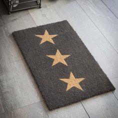 Charcoal Three Stars Coir Doormat-doormat-The Little House Shop