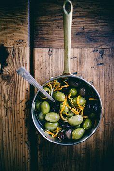 spicy orange + fennel marinated olives