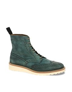 Enlarge ASOS Leather Brogue Boots With Wedge Sole, on sale for $86.16