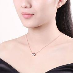 INALIS Simple Amor Del Corazón Colgante Collares de Oro Rosa Pulido de color Encanto Collares Para Las Mujeres Regalos de Joyas