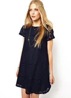 robe dentelle creux -Noir  15.20