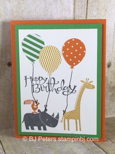 Super cute kid birthday card using Zoo Babies and Balloon Bouquet punch from stampin' Up!