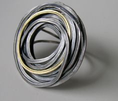 Jessica Briggs - FlourishRing in oxidized silver and 18ct gold £408